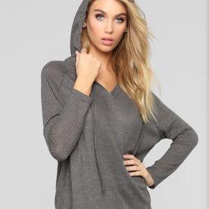 Fashion Nova Gray Hoodie Top